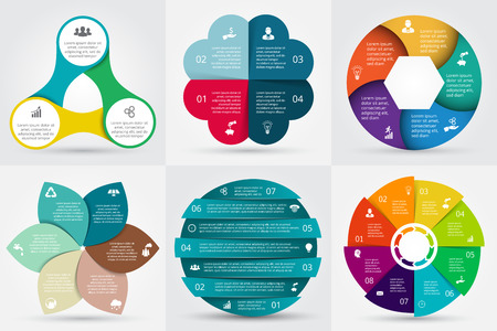 finance icons: Vector circle elements set for infographic. Template for cycling diagram, graph, presentation. Business concept with 3, 4, 5, 6, 7 and 8 options, parts, steps or processes. Abstract background.