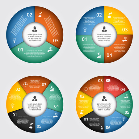 business chart: Vector circle elements for infographic. Template for cycling diagram, graph, presentation and round chart. Business concept with 3, 4, 5, 6 options, parts, steps or processes. Abstract background.