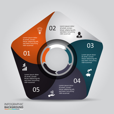 teamwork concept: Vector circle element for infographic. Template for cycling diagram, graph, presentation and round chart. Business concept with 5 options, parts, steps or processes. Abstract background. Illustration
