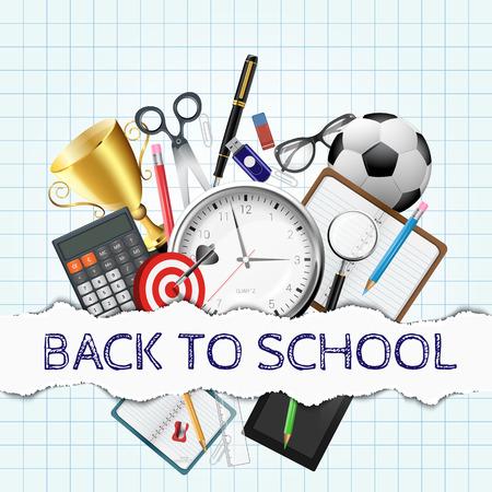 material escolar: Vector de la pluma, calculadora, lápices y otros útiles escolares. Volver a la ilustración de la escuela. Vectores
