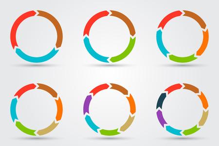 diagrama: Flechas Vector círculo de infografía. Plantilla de diagrama, gráfico, presentación y gráfico. Concepto de negocio con 3, 4, 5, 6, 7, 8 opciones, partes, etapas o procesos Vectores