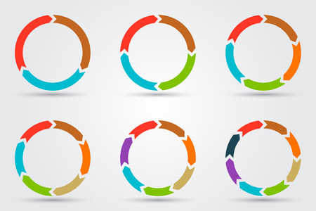 three colors: Vector circle arrows for infographic. Template for diagram, graph, presentation and chart. Business concept with 3, 4, 5, 6, 7, 8 options, parts, steps or processes Illustration