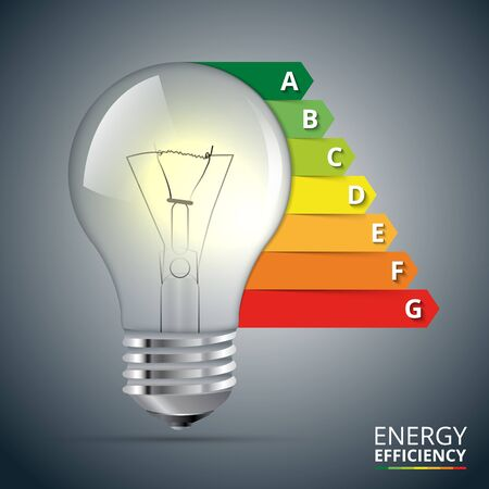 energy rating: Energy efficiency rating with lightbulb. Vector Illustration.