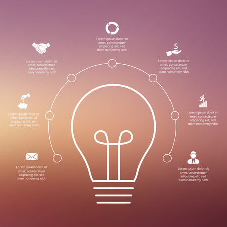 power line: Vector light bulb with circles for infographic. Template for diagram, graph, presentation and chart. Business concept with 7 options, parts, steps or processes. Linear graphic. Blur vector background Illustration