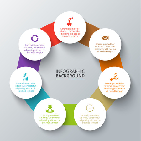 heptagon: Vector heptagon with circles elements for infographic. Template for cycling diagram, graph, presentation. Business concept with 7 options, parts, steps or processes. Abstract background.