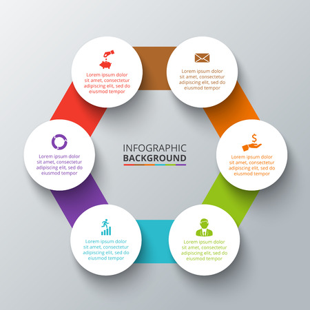 Vector hexagon with circles elements for infographic. Template for cycling diagram, graph, presentation. Business concept with 6 options, parts, steps or processes. Abstract background. Ilustração