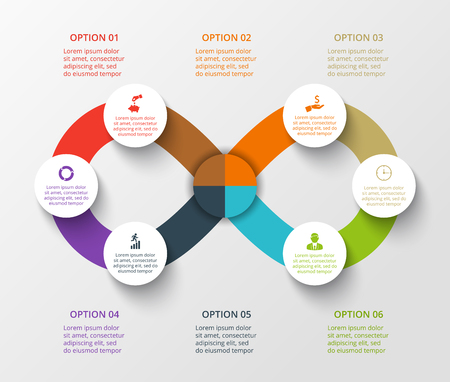 Vector infinity element for infographic. Template for cycling diagram, graph, presentation. Business concept with 6 options, parts, steps or processes. Abstract background.