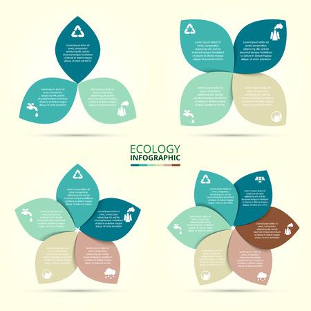 infografica: Vector cerchio eco infografica. modello di ecologia per lo schema, grafico, presentazione e grafico. concetto di cura ambientale con 3, 4, 5, 6, 7 e 8 punti, parti, passi o processi.