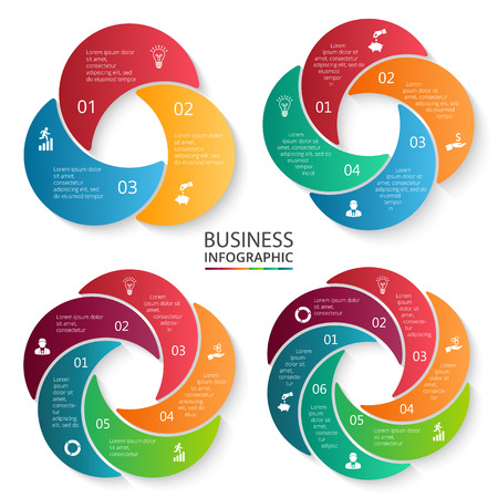 Vector circle infographic. Template for cycle diagram, graph, presentation and round chart. Business concept with 3, 4, 5 and 6 options, parts, steps or processes. Data visualization.