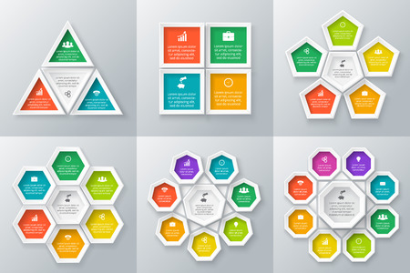 octagon: Vector circle elements set for infographic. Template for cycle diagram, graph, presentation and round chart. Business concept with 3, 4, 5, 6, 7 and 8 options, parts, steps. Abstract background