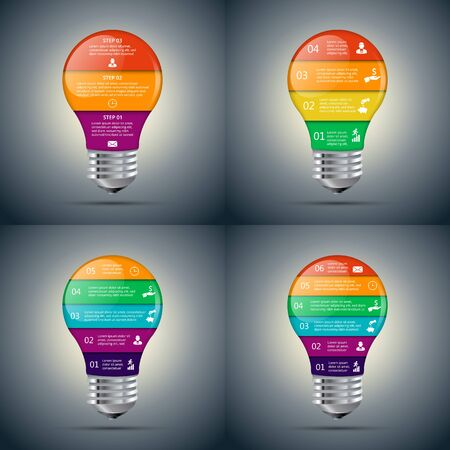 lamp light: Vector lightbulb set for infographic. Template for diagram, graph, presentation and chart. Business concept with 3, 4, 5, 6 options, parts, steps or processes. Abstract background.