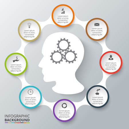 Vector circle elements for infographic. Template for cycling diagram, graph, presentation. Business concept with 8 options, parts, steps or processes. Abstract background. Stock Illustratie
