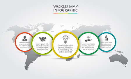 Vector world map with infographic elements. Template for diagram, graph, presentation. Business concept with 5 options, parts, steps or processes. Abstract background