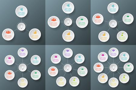 Vecteur cercle élément pour infographique. Modèle de diagramme de cycle, graphique, présentation et carte ronde. Business concept avec 3, 4, 5, 6, 7 et 8 options, parties, étapes ou processus. Vecteurs