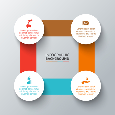 progress steps: Vector square with circles elements for infographic. Template for cycling diagram, graph, presentation. Business concept with 4 options, parts, steps or processes. Abstract background.