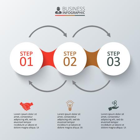 infografica: Elementi del vettore per infografica. Modello per diagramma, grafico, presentazione e grafico. Concetto di affari con 3 opzioni, parti, passi o processi. Astratto.