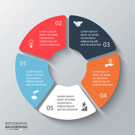 Vector circle element for infographic. Template for cycling diagram, graph, presentation and round chart. Business concept with 5 options, parts, steps or processes. Abstract background.  イラスト・ベクター素材