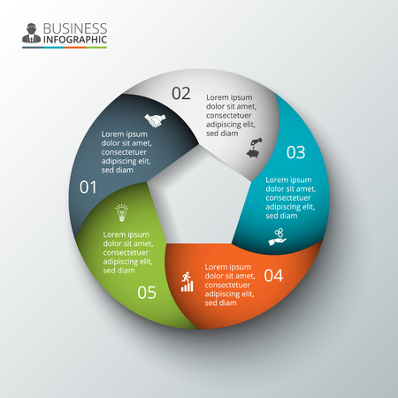 five element: Vector circle element for infographic. Template for cycling diagram, graph, presentation and round chart. Business concept with 5 options, parts, steps or processes. Abstract background. Illustration