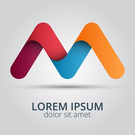 logos empresa: Letra M logo icono elementos de plantilla de diseño. Icono del diseño creativo Vectores