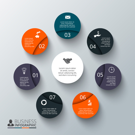 circular: Vector circle element for infographic. Template for cycling diagram, graph, presentation and round chart. Business concept with 7 options, parts, steps or processes. Abstract background.