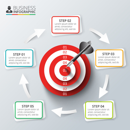 Vector target with dart for infographic. Template for cycle diagram, graph, presentation and round chart. Business concept with 5 options, parts, steps or processes. Abstract background.