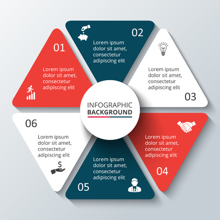 graph: Vector circle element for infographic. Template for cycling diagram, graph, presentation. Business concept with 6 options, parts, steps or processes. Abstract background.