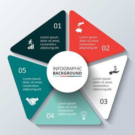 Vector cirkel element voor infographic. Sjabloon voor fietsen diagram, grafiek, presentatie. Zakelijk concept met 5 opties, delen, stappen of processen. Abstracte achtergrond.