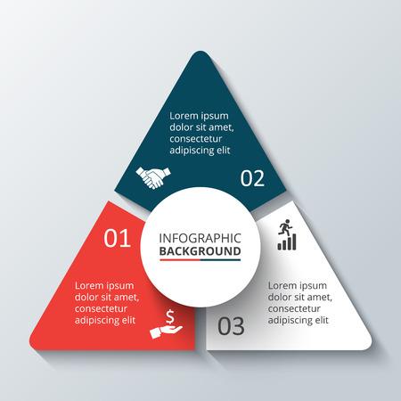 diagrama: Vector elemento círculo de infografía. Plantilla de diagrama de ciclismo, gráfica, presentación. Concepto de negocio con 3 opciones, partes, etapas o procesos. Resumen de antecedentes. Vectores