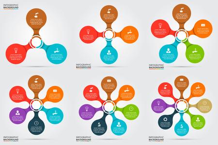 Vector cirkel element voor infographic. Sjabloon voor fietsen diagram, grafiek, presentatie en rond grafiek. Concept met 3, 4, 5, 6, 7 en 8 opties, delen, stappen of werkwijzen. Stock Illustratie