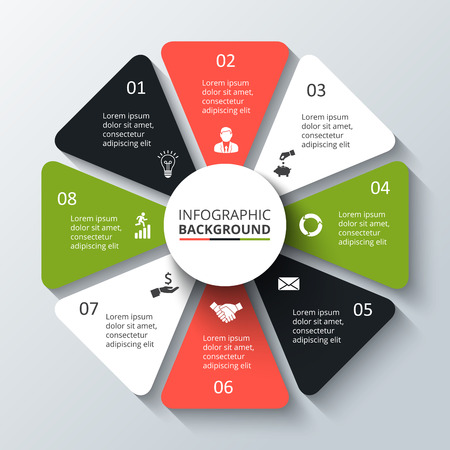 vector element: Vector circle element for infographic. Template for cycling diagram, graph, presentation. Business concept with 8 options, parts, steps or processes. Abstract background. Illustration