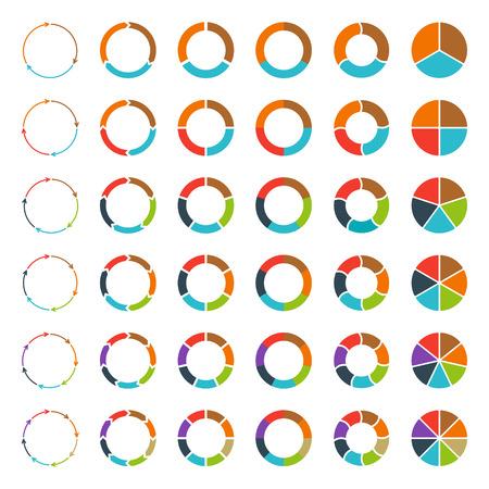 par: Gráficos de pizza segmentadas e multicoloridas e flechas definir com 3, 4, 5, 6, 7 e 8 divisões. Molde para o diagrama, gráfico, apresentação e carta.