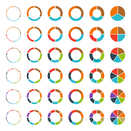 color charts: Segmented and multicolored pie charts and arrows set with 3, 4, 5, 6, 7 and 8 divisions. Template for diagram, graph, presentation and chart.