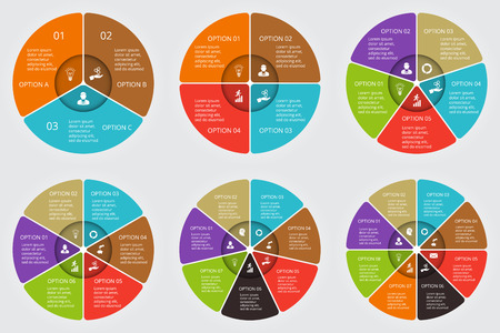 Vector circle elements set for infographic. Template for cycling diagram, graph, presentation. Business concept with 3, 4, 5, 6, 7 and 8 options, parts, steps or processes. Abstract background.