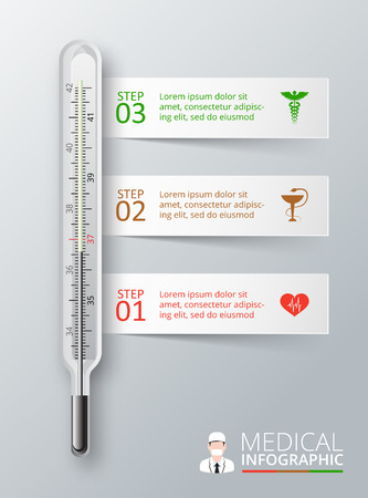 medical heart: Vector thermometer for infographics. Template for diagram, graph, presentation and chart. Medical healthcare concept with 3 options, parts, steps or processes. Abstract background Illustration