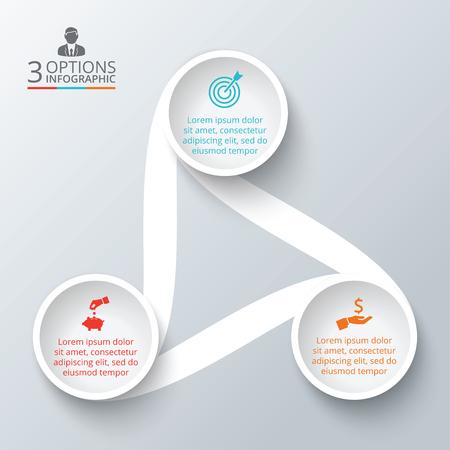 diagrama: Vector elemento círculo de infografía. Plantilla de diagrama de ciclo, gráfico, la presentación y el gráfico ronda. Concepto de negocio con 3 opciones, partes, etapas o procesos. Resumen de antecedentes.