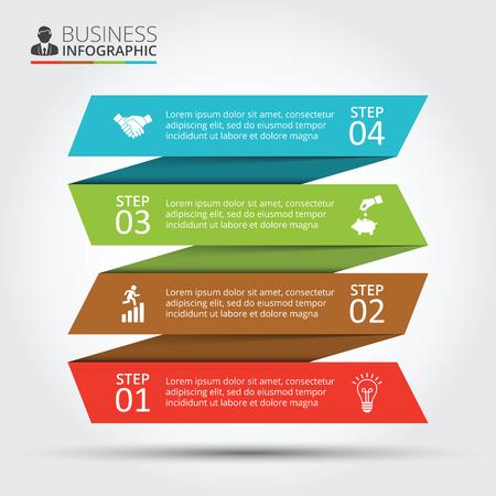 diagrama: Rayas del vector para infografía. Plantilla de diagrama, gráfico, presentación y gráfico. Concepto de negocio con 4 opciones, partes, etapas o procesos. Resumen de antecedentes.