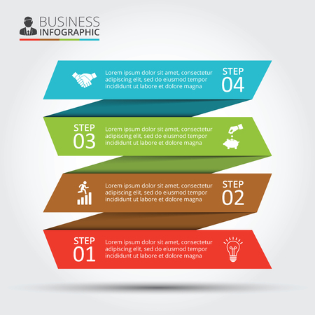 Vector stripes for infographic. Template for diagram, graph, presentation and chart. Business concept with 4 options, parts, steps or processes. Abstract background.