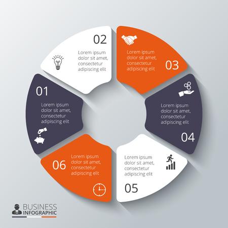Vector cirkel element voor infographic. Sjabloon voor cyclus diagram, grafiek, presentatie en rond grafiek. Zakelijk concept met 6 opties, delen, stappen of processen. Abstracte achtergrond. Stock Illustratie