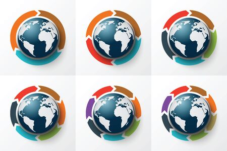arrow circle: Vector arrows around the Earth for infographic. Template for cycle diagram, graph, presentation and round chart. Business concept with 3, 4, 5, 6, 7 and 8 options, parts, steps or processes.
