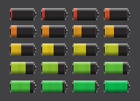 Vector set of batteries with different charge levels. Battery life, accumulator, battery running low, battery recharging vector.
