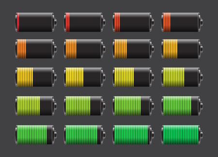 Wektor zestaw akumulatorów o różnym poziomie naładowania. Żywotność baterii, akumulatorów, baterii niski, ładowanie baterii wektor.