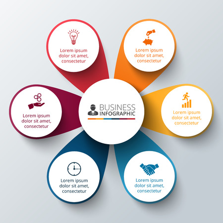Vector circle infographic. Template for cycle diagram, graph, presentation and round chart. Business concept with options, parts, steps or processes. Data visualization.