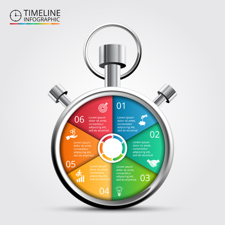 number six: Vector stopwatch timeline infographic. Template for cycle diagram, graph, presentation and round chart. Business concept with 6 options, parts, steps or processes. Abstract background.