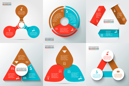 three: Vector arrows, triangle, circles and other elements for infographic. Template for cycle diagram, graph, presentation and round chart. Business concept with 3 options, parts, steps or processes. Stock Photo