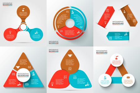 Vector pijlen, driehoek, cirkels en andere elementen voor de infographic. Sjabloon voor cyclus diagram, grafiek, presentatie en rond grafiek. Zakelijk concept met 3 opties, delen, stappen of processen.