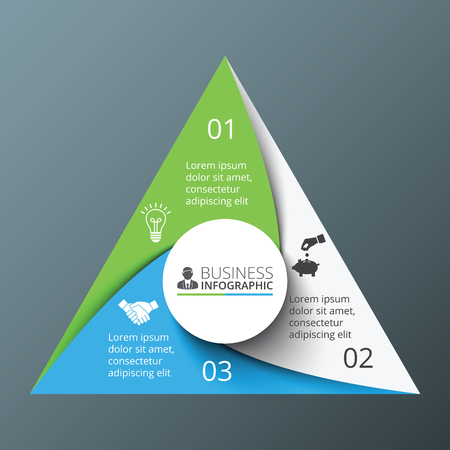 business management: Vector spiral triangle for infographic. Template for cycle diagram, graph, presentation and round chart. Business concept with 3 options, parts, steps or processes. Abstract background.