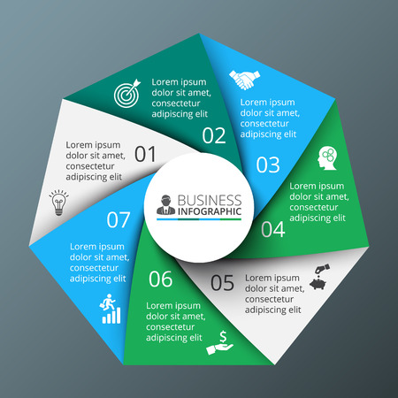 heptagon: Vector spiral heptagon for infographic. Template for cycle diagram, graph, presentation and round chart. Business concept with 7 options, parts, steps or processes. Abstract background.
