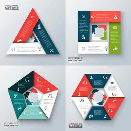 par: triângulo vetor, quadrado, pentágono e hexágono para infográfico. Molde para o diagrama de ciclo, gráfico, apresentação e gráfico rodada. Conceito do negócio com 3, 4, 5, 6 opções, peças, etapas ou processos.
