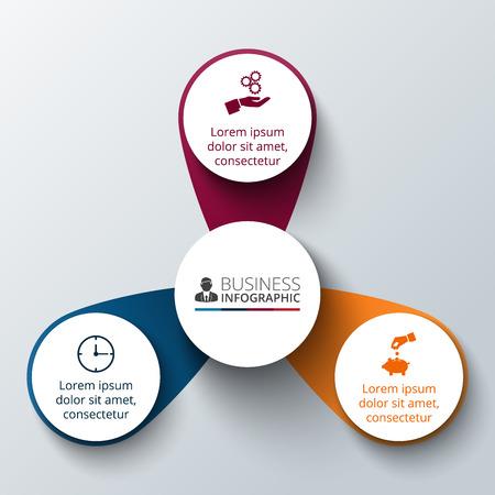 diagrama: Vector círculo infografía. Plantilla para el diagrama del ciclo, gráfico, la presentación y el gráfico ronda. Concepto de negocio con 3 opciones, partes, etapas o procesos. La visualización de datos.