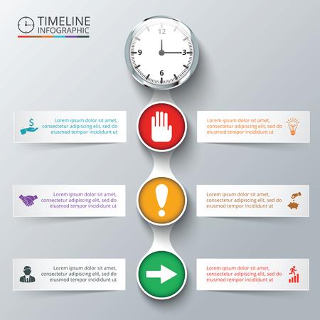 交通: タイムラインのインフォ グラフィックのための時計とベクトルの要素。図、グラフ、プレゼンテーション、グラフのテンプレートです。6 のオプシ 写真素材